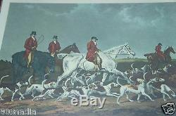 Antique Wood/glass Serving Tray Horse/hound Engraving English Hunting Scene