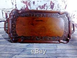 Antique Wooden Carved Ornate Serving Servants Butlers Tea Coffee Snack Tray