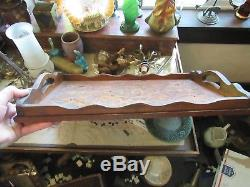 Antique Wooden Serving Tray Mahogany CARVED DRAGONS