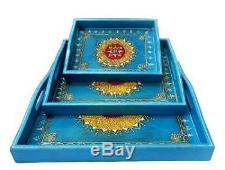 Antique Wooden Serving Trays Party Decoration Wedding Tableware Tray Platter Set