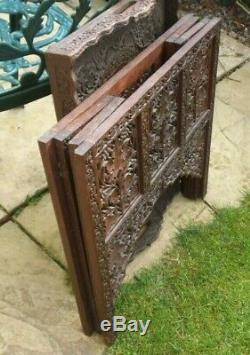 Antique anglo-indian dark wood carved folding inlaid serving table butlers tray