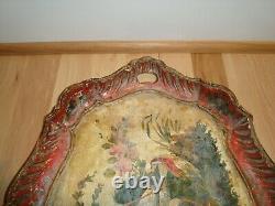 Antique ca 1825 Italy Italian Venetian Rococo Painted Wood Wooden 19 Tray