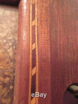 Antique handmade wood marquetry real butterfly serving platter tray drink dish