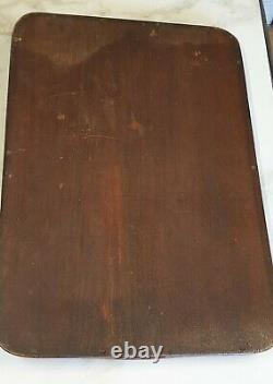 Antique inlay decoration large wood drinks butler serving tray