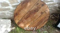 Antique wooden Serving table Dough kneading table serving tray big round wooden