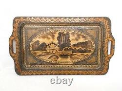 Antique wooden pyrography / poker work serving tray with glass Bulgarian folk art