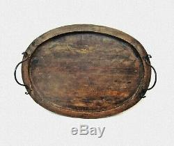 Antique wooden serving tray Large Servants Butlers Tray XIX c