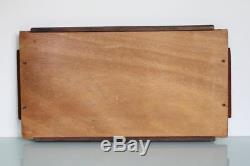 Art Deco inlayed geometric design wooden serving tray platter