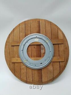 Authentic Reclaimed 23 Wine Barrel Top Lazy Susan Wood Cask Lid Serving Tray