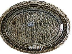 Awesome Moroccan Handmade Beech wood Tray inlaid Mother of Pearl-high finish