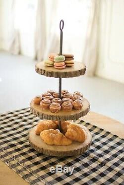Awesome Pine Wood & Metal Three Tiered Food Display Stand, 12'' x 23.5''H