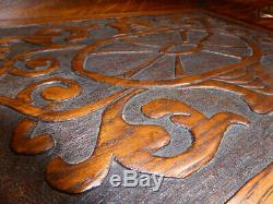 BEAUTIFUL Antique Arts & Crafts Large Oak Carved Butlers Serving TEA TRAY Treen