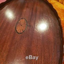 BEAUTIFUL Antique Marquetry Wood Serving Tray Free shipping