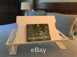 BREAKFAST IN BED! Vintage Wood Tray Table with Side Baskets and Adjustable Tray