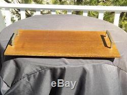 B&B Italia Maxalto Brush Chrome Handled Footed Wood Serving Tray 23x12.5