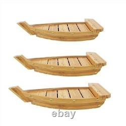 BambooMN Bamboo Wood Sushi Boat Serving Display Tray, Carbonized Brown