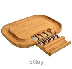 Bamboo Cheese Serving Tray Board Stainless Steel Tools Wood Knife Fork Spreader