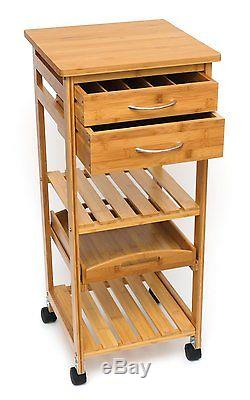 Bamboo Space Saving Cart Kitchen Bathroom Rolling 2 Drawers Serving Tray Narrow