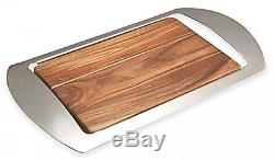 Bar Tray Stainless Steel Acacia Wood Barware Serving Drinks Party Beverages