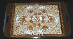 Beautiful Art Deco Iridescent Butterfly Wing Wood Serving Tray Inlay Border