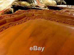 Beautiful Ornately Carved Eastern Teak Large Serving Tray Floral Art Design