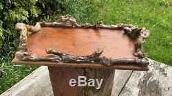 Beautiful Vintage Handmade Wooden Serving Tray With Wooden Handles