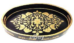 Beautiful Wood Toile Serving Tray Black Gold Large 27 x 18 x 3