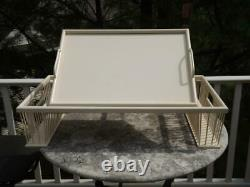 Bed Lap Breakfast Serving Tray Adjustable Book Stand Removable Tray White