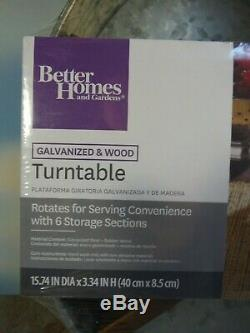 Better Homes & Gardens Galvanized Steel & Wood Turntable New