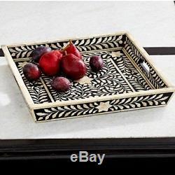 Black Bone Inlay Handmade Tray Inlay Furniture