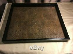 Black Wood & Manta/Sting Ray Leather Rectangular Serving Tray