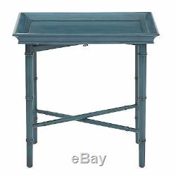 Blue 4 Legs Rectangular Birch Wood Bamboo Style Salem Folding Serving Tray/Table