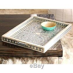 Bone Inlay Black Butler Serving Trays Handmade Inlay Furniture