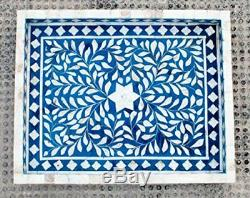 Bone Inlay Blue Floral Tray Handmade Inlay Furniture