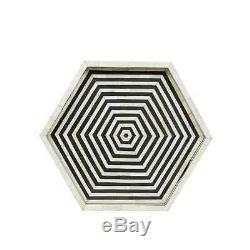 Bone Inlay Hexagon Handmade Antique Indian Vintage Serving Black Tray