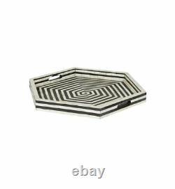 Bone Inlay Hexagon Handmade Antique Wooden Indian Vintage Serving Black Tray