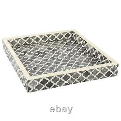 Bone Inlay Moroccan Handmade Indian Wooden Antique Serving Tray