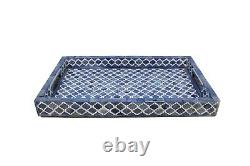 Bone Inlay Mughal Design Blue Color Serving Tray