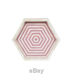Bone Inlay Pink Hexagon Handmade Vintage Wooden Indian Tray