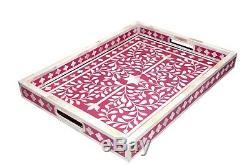 Bone Inlay Wooden Antique Modern Floral Design Kitchen Serving Tray Pink