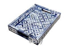 Bone Inlay Wooden Antique Modern Geometric Design Kitchen Serving Tray Blue