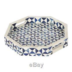 Bone Inlay Wooden Modern Antique Handmade Tray Octagon Design Vintage Blue