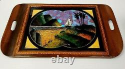 Brazilian Hard Wood Signed SANTOS Iridescent BUTTERFLY Wings Wall Plaque Tray
