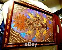 Brazilian Mahogany Inlay Serving Tray Butterfly Wings Reverse Painted Scene