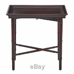 Brown 4 Legs Rectangular Birch Wood Bamboo Style Salem Folding Serving Tray New
