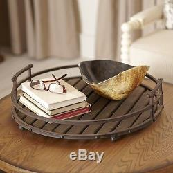 Brown Rustic Round Iron Wood Wooden Book Drink Cocktail Dish Serving Tray Table