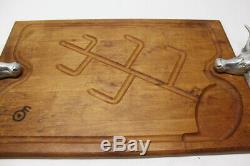 Bruce Fox Bull/Steer Double Handle Wood Serving Tray 24 Cutting Board