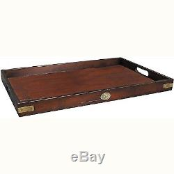 Butler's Tray Serving Tray Solid Wood in French Finish with Brass Hardwar