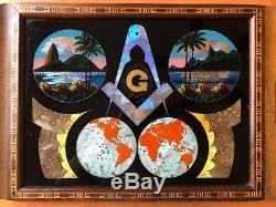 Butterfly wing Masonic Emblem wood serving tray Rio Brazil inlaid marquetry Rare