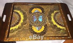 Butterly wing mosaic wood serving tray Rio Brazil inlaid marquetry blue morpho